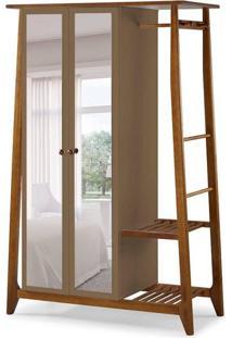 Guarda-Roupa Solteiro Stoka Com Espelho 2 Pt Nogal E Marrom Médio