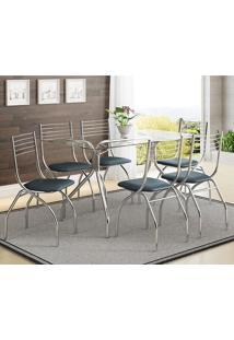 Conjunto Mesa 387 Vidro Incolor Cromada Com 6 Cadeiras 146 Jeans Carraro