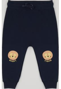 Calça De Moletom Infantil Com Joelheira De Leão Azul Marinho