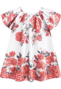 Vestido Infantil Milon Cetim Floral Vermelho