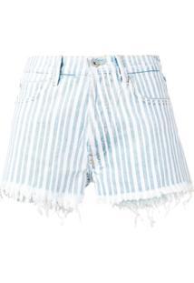 Off-White Short Jeans Com Listras Diagonais - Azul