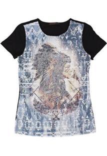 Camiseta Com Paetê Tassa Gold 21365 Feminina - Feminino-Preto