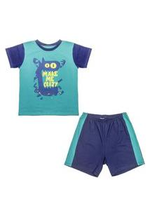 Pijama Juvenil Look Jeans Monstro Curto Verde/Marinho