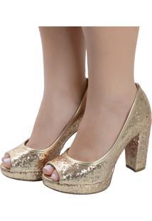 Peep Toe Laura Prado Ouro Glitter