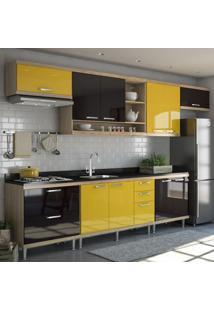 Cozinha Completa Sicília Sem Tampo Com 10 Portas Argila/Preto/Amarelo - Multimóveis