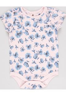 Body Infantil Estampado Floral Com Babado Manga Curta Rosa Claro