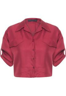 Camisa Feminina Cropped Com Bolsos Seda - Vermelho