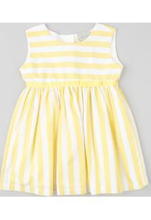 Vestido Infantil Listrado Com Laço Sem Manga Branco