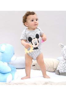 Body Infantil Mickey Estampado Geométrico Manga Curta Cinza Claro