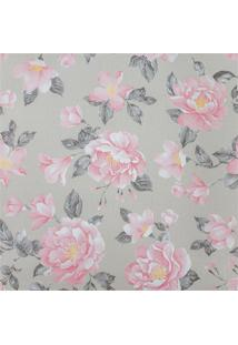 Papel De Parede Floral 52Cm Com 10 Metros Rosa E Bege
