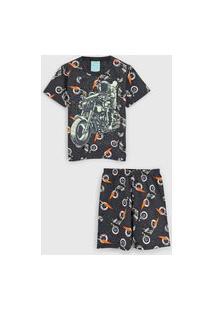 Pijama Kyly Curto Infantil Moto Grafite