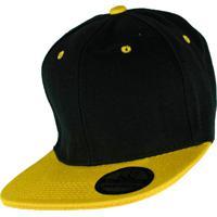 aad7685fd Boné Rich Young Snapback Aba Reta Preto Com Amarelo Liso