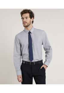 Camisa Masculina Comfort Com Bolso Manga Longa Cinza