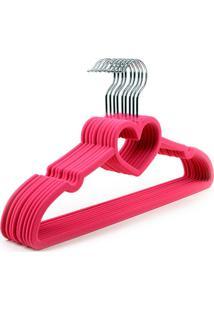 Kit 120 Cabides De Veludo Coração Pink Gear Baby