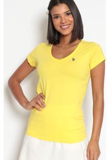 Camiseta Lisa Bordada- Amarelaus Polo