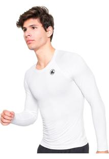 Camisa Térmica V El Fator Uv Manga Longa Poliamida Branca