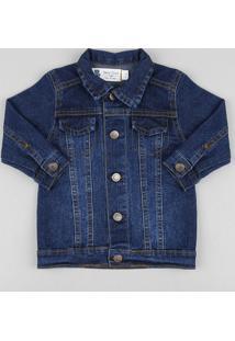 Jaqueta Jeans Infantil Com Pespontos Azul Escuro