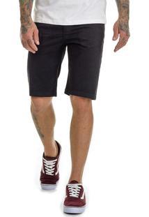 Bermuda Offert Jeans Premium Slim Fit Com Lycra Preta