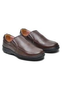 Sapato Social Masculino Couro Ortopédico Confortável Macio Marrom 37 Marrom