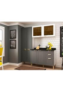 Cozinha Compacta Nevada I 8 Pt 3 Gv Grafite E Branca
