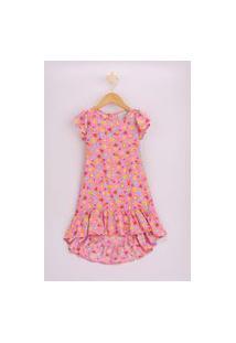 Vestido Infantil Estampado De Frutas Manga Curta Rosa
