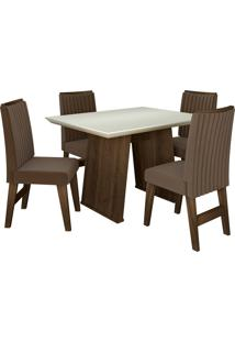 Conjunto De Mesa Para Sala De Jantar Com 4 Cadeiras Vigo -Dobuê Movelaria - Castanho / Branco Off / Castor Bord