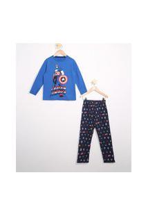 Pijama Infantil De Algodão Capitão América Manga Longa Azul