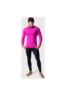 Camisa Térmica Adulto Masculina Segunda Pele Praia Surf Proteçáo Uv 4 Estações Rosa