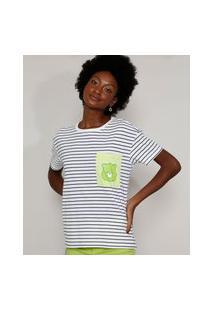 Camiseta Feminina Listrada Manga Curta Ursinhos Carinhosos Com Bolso Decote Redondo Branca