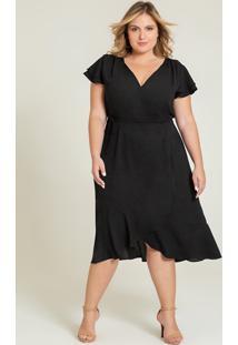 Vestido Plus Size Preto Transpassado