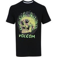 Camiseta Volcom Silk Slim Shred Skull - Masculina - Preto f13406a36f3f2