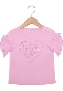 Camiseta Colcci Fun Menina Rosa