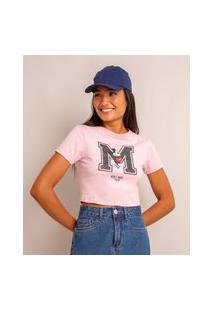 Camiseta Cropped Estampada Mickey Manga Curta Decote Redondo Rosa Claro