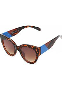 Óculos De Sol Marielas Tartaruga Da72005 Feminino - Feminino-Marrom