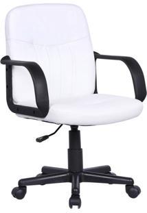 Cadeira De Escritório Secretária Giratória Clean Branca