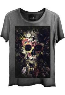 Camiseta Estonada Corte A Fio Skull Garden
