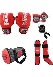 616d5fb97 Kit Muay Thai Trad Fheras - Luva +Bandagem +Bucal +Caneleira +Bolsa -