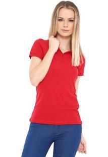 b5208a6c8607c Camisa Pólo Liso Vermelha feminina