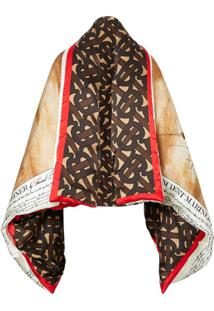 Burberry Mariner Print Puffer Cape - Marrom