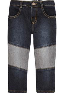 Calça Jeans Bebê Menino Slim Com Detalhes Assimétricos Contrastantes Puc