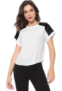 Camiseta Morena Rosa Resinada Off-White/Preta
