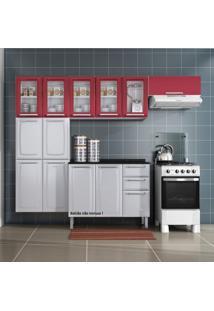 Cozinha Compacta 3 Peças Luce Itatiaia Com 5 Portas De Vidro Luce 2018 Itatiaia Branco/Vermelho