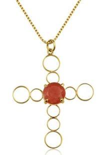 Colar Toque De Joia Crucifixo Jade Vermelha Ouro Amarelo - Feminino-Dourado