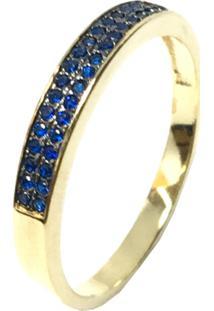 Anel Kumbayá Meia Aliança Semijoia Banho De Ouro 18K Cravação De Zircônia Azul Safira Detalhe Em Ródio Negro