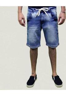 Bermuda Jeans Lavado Rasgado Top Ii Masculina - Masculino-Azul