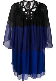 Alberta Ferretti Vestido Reto Translúcido - Azul