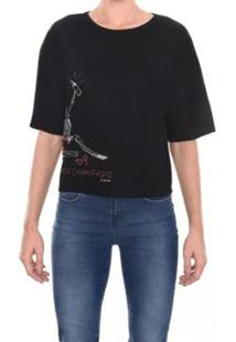 Camiseta M.Officer Silk Caveira Feminina - Feminino-Preto