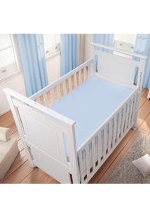 Lençol Com Elástico Americano Liso Azul - Baby Joy