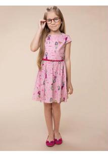 Vestido Rosa Claro Evasê Com Cinto Carinhoso