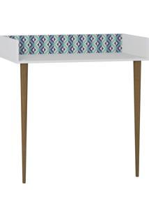 Escrivaninha De Parede 1003 Retro Branco/Estampa Azul - Bentec